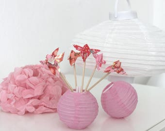 6 mini origami Butterfly pink and Red wooden skewers