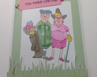 ANNIVERSARY, RETIRED, Card, Husband and Wife Handmade Card, Golf, You Make Life Fun card