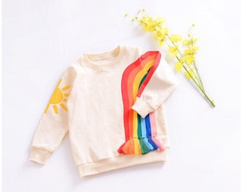 Rainbow fringed sweater