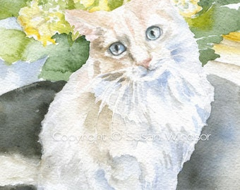 White Cat Floral Watercolor Painting 5 x 7 Fine Art Giclee Reproduction Girls Nursery Decor Cat Lover