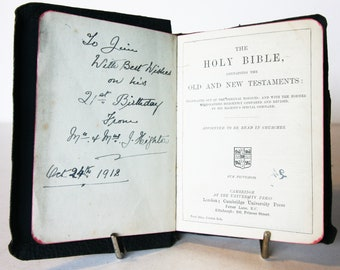 Antique Holy Bible 1918 Vintage Christian religious old book Hardback Gifts love Christian vintage gift