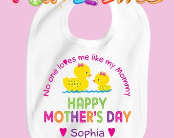 Happy Mother's Day Bib - Girls - Personalized with Name