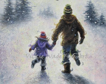 Father Daughter Snow ORIGINAL Painting, dad and daughter wall art, winter, playing,  holding hands, fathers day, fatherhood, Vickie Wade Art