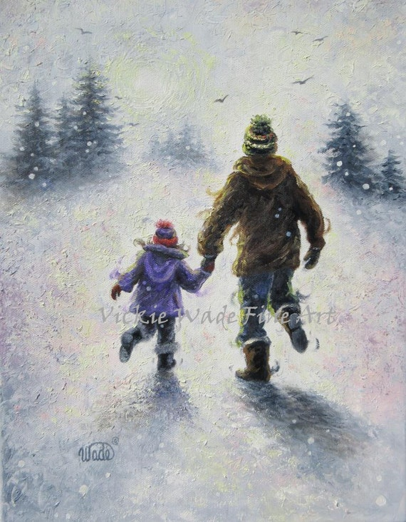 Father Daughter Snow Original Painting Dad And Daughter Wall