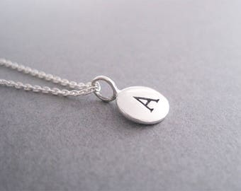 Initial A Necklace, Sterling Silver Initial A