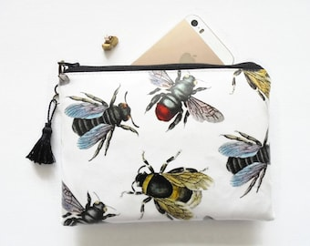 bumble bees,queen bee wallet,bee species,bee bag,bee purse,insects,yellow and black bumble bees,eco bumble bee wallet,waterproof pouch.