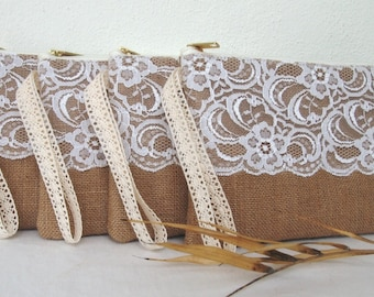Set of 4 Bridesmaid clutch /Bridesmaid Gift /burlap clutch/ lace clutch/wedding idea /wristlet /ready to ship