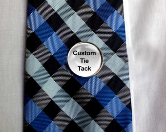 Custom Tie Tack, Tie Tac, Silver Tie Tack, Personalized Tie Tack, Gift for Dad, Father's Day, Groomsmen, Wedding Party