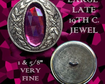 Button--Large Late 19th C. Long Oval Amethyst Glass Jewel in Acanthus Wreath
