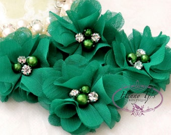 NEW: 4 pcs Aubrey EMERALD GREEN - Soft Chiffon with pearls and rhinestones Mesh Layered Small Fabric Flowers, Hair accessories