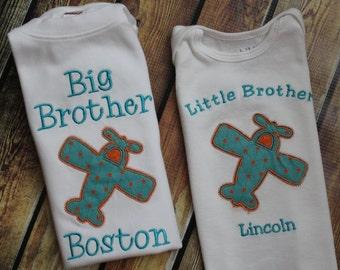 Big Brother Shirt - Big Bro Shirt - Big Brother Little Brother Sibling Set - Little Brother Shirt- Boys Airplane Shirt