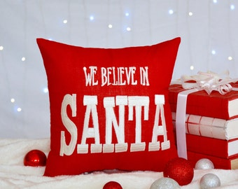 50% OFF Christmas Pillow, We believe in Santa Pillow, Christmas kids pillow, Christmas kids Gift Pillow, Hand Embroidered, Pillow From
