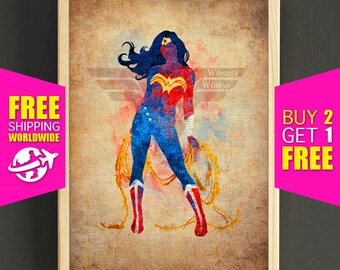 Wonder Woman Watercolor Art Print Justice League Superhero Poster House Wear Wall Decor Gift Linen Print - FREE SHIPPING - 41s2g