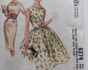 Vintage McCall's 6274 Mad Men *Size 12* Wiggle Dress Sewing Pattern
