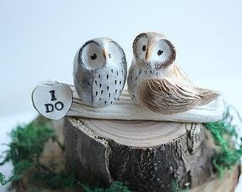 I DO Owls, Owl cake topper Wedding, Clay Owls, Rustic Cake Topper, Bird Cake Topper, Owl Wedding cake topper, Owl Cupcake Topper
