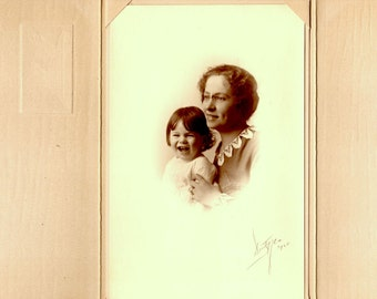 1920 Antique Mother and Daughter Photograph - Mixed Media, Altered Art, Collage, Assemblage, Scrapbooking Supplies