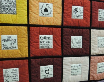 Quilters Sayings Quilt. Twin Throw size blanket. black words text funny colorful 4718