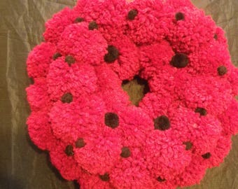 Handmade Red Pom Pom Wreath