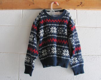 Vintage 80s/90s Boys Snowflake Winter Christmas Sweater