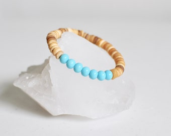 Wood Bracelet / Boho Style / Coconut Shell Beads + Turquoise Glass Bead / KO-MALA / BLACKTOP
