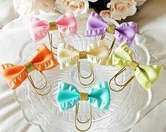 Pastel Ruffle Ribbon Bow Clips