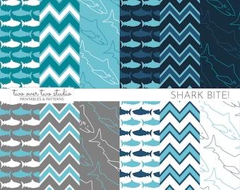 Shark Digital Paper / Commercial Use / Shark Printable / Shark Patterns / Shark Scrapbook Paper / Shark Party / Instant Download