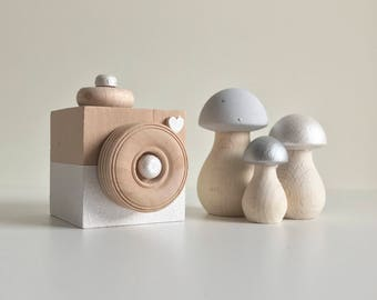 Wooden Camera . Grey Nursery Decor . Wooden Decor . Wooden Toadstools . Wooden Nursery Decor . Scandinavian Nursery . Baby Gift