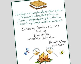 S'more Invitation // Campfire Invitation // Camp Out // Bonfire // Camping Party // Printed or Printable Invitations