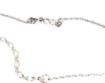 Vintage Silver Chain Anklet with Antique Crystal Rose Montees  A4960
