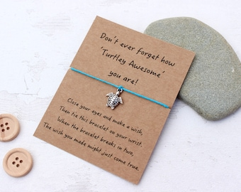 Turtle Bracelet, Turtle Wish Bracelet, Wish Bracelet, Turtle Jewellery, Turtle Gift, Friendship Bracelet, Wish Bracelet Gift, Turtle Quote
