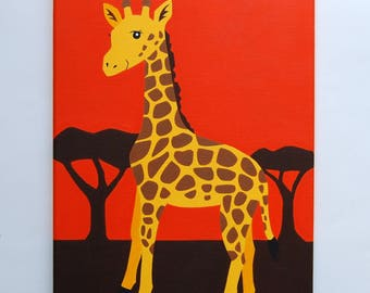 "Original Giraffe Painting, Safari Nursery Art, Giraffe Nursery decor, Kids Wall Art, Jungle nursery, animal art, 16"" x 12"" canvas artwork"