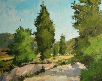 Original painting, oil, impressionist, blue sky, Italy Tuscany, trees, Sessa