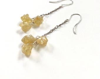 Golden Quartz Cluster Earrings