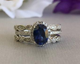 Sapphire wedding set Etsy