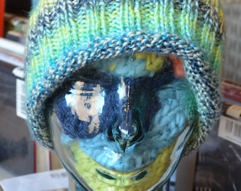 Slouch Hat in Green, Blue, and Yellow
