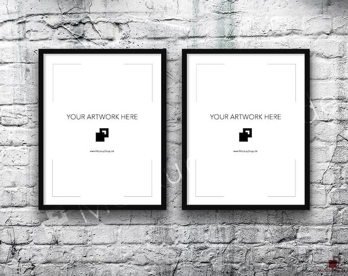 11x14 Set of 2 FRAME MOCKUP BLACK / Poster Mockup, old brick grey wall, Framed Art, Instant Download / Frame Mockup