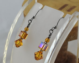 TOPAZ golden Simply Stacked Swarovski crystal bicone cube and round gunmetal leverback earrings