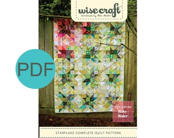 Starflake Quilt Pattern, PDF Instant Download
