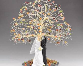 Fall Wedding Cake Topper Tree Cake Topper 8x9 in Genuine Swarovski Crystal Elements with Bride Groom Figurine Fireopal Siam Topaz Olivine
