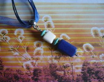 """Lapis lazuli, Turquoise & white Howlite """"SUNBATHING"""" pendant necklace"""