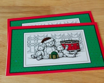Vintage CHRISTMAS CARDS   Teddy Bears   Present   Drum   Set of 2 Cards