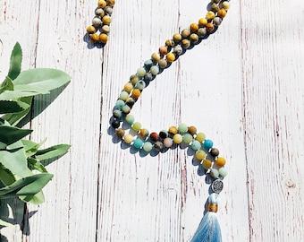 Amazonite & Agate Mala Necklace • Tassel Necklace • Knotted Mala Necklace • 108 Mala • Chakra Necklace • Boho Yoga Jewelry • Prayer Beads