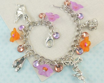 Dance Recital Charm Bracelet for Girls in radiant orchid and orange   --  Maddie  --