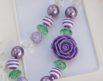 Purple Rose Chunky Necklace, Lavender Rose gumball necklace, Purple Rose necklace, Girls Rose necklace, Gumball Necklace