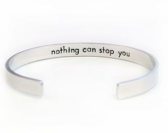 Hidden Message Bracelet Double Sided Cuff- Hand Stamped Secret Message Cuff - Personalized Aluminum Bracelet