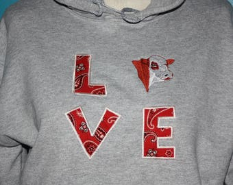 Hoodie Hereford Sweatshirt - Love Herefords - custom color Hereford sweatshirt - hereford hooded sweatshrit - Hereford Embroidery sweatshirt