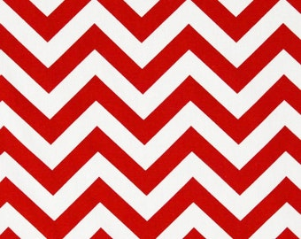 Red Chevron Fabric by the YARD Home Decor upholstery lipstick zigzag Christmas Premier Prints on white SHIPsFAST