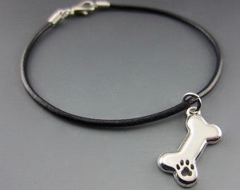 Engravable Dog Bone Charm on Leather Bracelet