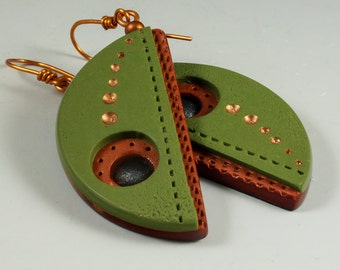 Half Moon Dangle Earrings - Olive Green Copper Perforated No. 186