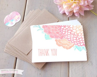 Dahlia Thank You Cards - Boxed Set of 10